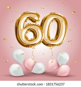Elegant Greeting celebration sixty years birthday. Anniversary number 60 foil gold balloon. Happy birthday, congratulations poster. Golden numbers with sparkling golden confetti. Vector background