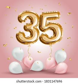Elegant Greeting celebration thirty five years birthday. Anniversary number 35 foil gold balloon. Happy birthday, congratulations poster. Golden numbers with sparkling golden confetti. Vector