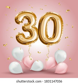 Elegant Greeting celebration thirty years birthday. Anniversary number 30 foil gold balloon. Happy birthday, congratulations poster. Golden numbers with sparkling golden confetti. Vector background