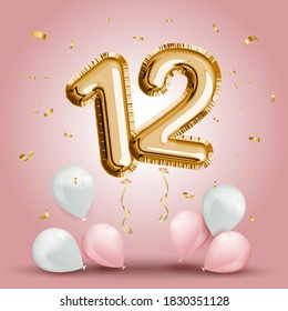 Elegant Greeting celebration twelve years birthday. Anniversary number 12 foil gold balloon. Happy birthday, congratulations poster. Golden numbers with sparkling golden confetti. Vector background
