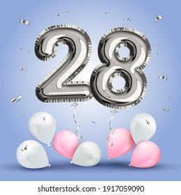 Elegant Greeting celebration twenty eight years birthday. Anniversary number 28 foil silver balloon. Happy birthday, congratulations poster. Silver numbers with sparkling silver confetti. Vector
