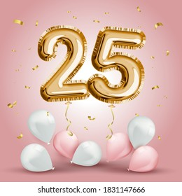 Elegant Greeting celebration twenty five years birthday. Anniversary number 25 foil gold balloon. Happy birthday, congratulations poster. Golden numbers with sparkling golden confetti. Vector