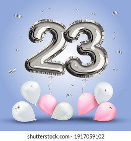 Elegant Greeting celebration twenty three years birthday. Anniversary number 23 foil silver balloon. Happy birthday, congratulations poster. Silver numbers with sparkling silver confetti. Vector