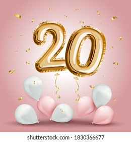 Elegant Greeting celebration twenty years birthday. Anniversary number 20 foil gold balloon. Happy birthday, congratulations poster. Golden numbers with sparkling golden confetti. Vector background