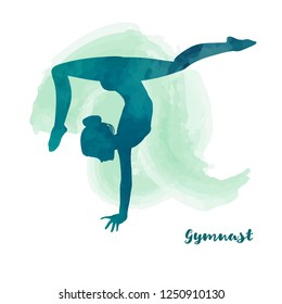 Elegant gymnast girl makes handstand. Watercolour texture. Card