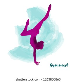 Elegant gymnast girl makes handstand. Watercolour texture. Card or poster design.