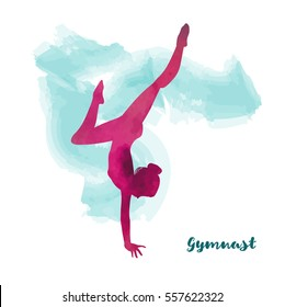 Elegant gymnast girl makes handstand. Watercolour effect.