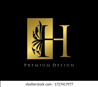 Elegant H Luxury Logo Icon, Vintage Negative Space Gold H Letter Logo Design. Perfect for fashion, Jewelry, Beauty Salon, Cosmetics, Spa, Wedding Logo, Letter Stamp, Hotel and Restaurant Logo.