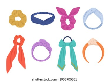 Elegant hair ties and hoops set. Fashionable womens yellow accessory with hanging blue ribbons stylish purple headband and vintage orange bandana with elastic inserts. Vector fashion.