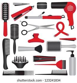 Elegant hairdressing related symbols
