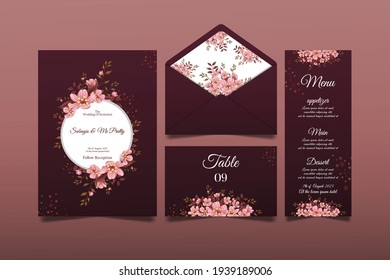 Elegant hand drawn cherry blossom wedding invitation cards, premium Vectors, designs that can be edited as needed. 05