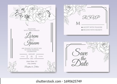 Elegant hand drawn floral wedding invitation template