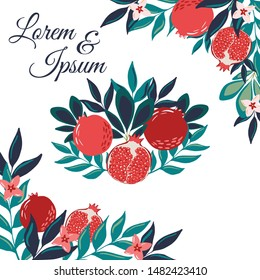 Elegant hand drawn fruit card with text space and fruit garden and leaves decoration elements. Hand drawn vector illustration with pomegranates banner design.