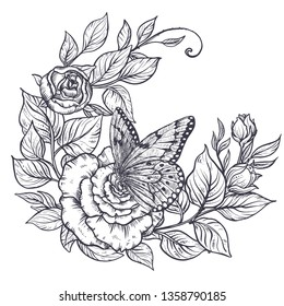 51db6c2894fd7 Elegant hand drawn graphic bouquet with rose flowers and leaves and  butterfly. Beautiful vector illustration