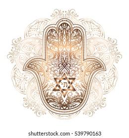 Elegant hand drawn Isolated traditional Jewish sacred amulet and religious symbols - Hamsa or hand of Miriam, palm of David, star of David, Rosh Hashanah, Hanukkah,  Shana Tova.
