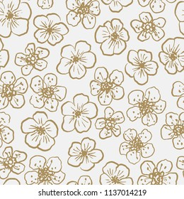 Elegant hand drawn seamless pattern with garden flowers for your designs. Sakura. Can be used for bags, apparel, planners, posters, cards, notebooks, branding, print designs, banners, advertisement
