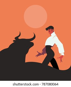 Elegant and handsome Spanish flamenco dancer, dancing in front of a bull under the sun or the moon