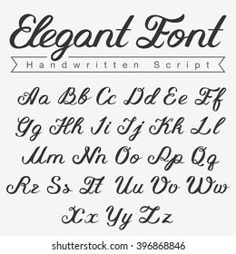 Elegant Handwritten Script Font design vector. Calligraphy Lettering typeface letters Uppercase Lowercase