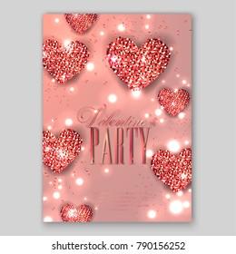 Elegant Happy Valentine's day festive sparkle Glitter red heart. Valentine day card Illustration. Wedding invitation card