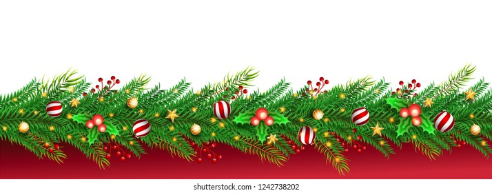 Elegant header or banner design decorated with festival elements on white and red background with space for your message for Merry Christmas and New Year celebration.