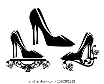 elegant high heeled shoes with rose flowers floral decor - black and white vector footwear design
