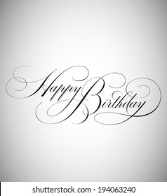 Elegant Holiday Vector Lettering in Script Style: Birthday