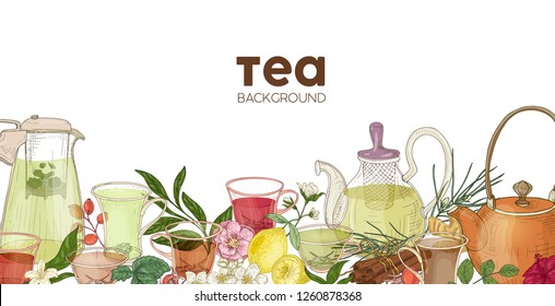 Elegant horizontal background or backdrop with glass teapots, cups, delicious aromatic tea, flowers, berries, leaves. Backdrop with natural healthy drink or beverage. Realistic vector illustration.