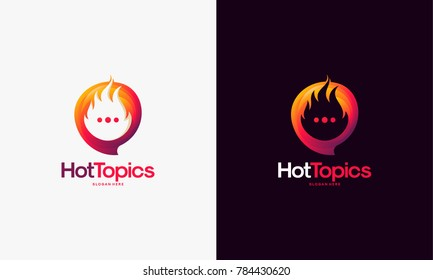 Elegant Hot Topics Logo template, Hot News Logo designs vector, Spirit Discuss logo emblem
