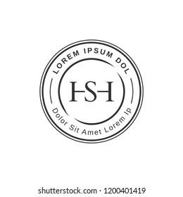 Simple elegant hs monograr. Circle logo for branding identity. Vector image.