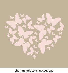 elegant icon much pink butterflies in a heart shape. pattern for greeting or invitation to a wedding or Valentine's day. vector illustration
