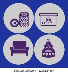 elegant icon. elegant vector icons set square barcode box, armchair, cake wedding and car wheels