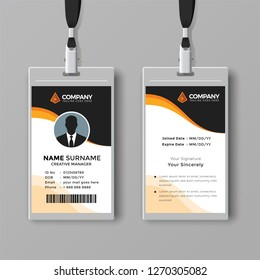 Elegant ID card template with orange details
