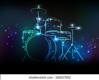 Elegant illustration of drum set with neon effect on shiny colorful background.