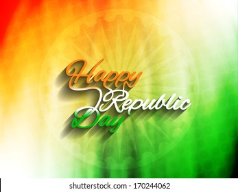 Elegant Indian flag theme background with beautiful text design of Happy Republic day. vector illustration