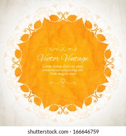 Elegant Indian ornamentation on a vintage background. Stylish design. Can be used as a greeting card or wedding invitation