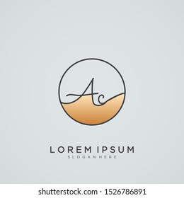 Elegant Initial Letter AC Logo With Circle.