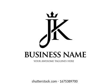 elegant initial letter jk with crown logo vector, Creative Lettering Logo Vector Illustration.