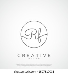 Elegant Initial Letter RF Logo With Circle. Initial letter handwriting and signature logo.