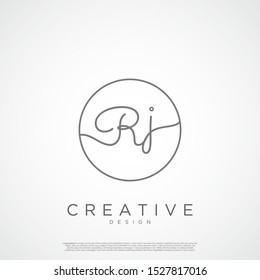 Elegant Initial Letter RJ Logo With Circle. Initial letter handwriting and signature logo.