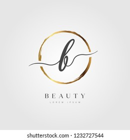 Elegant Initial Letter Type B Logo With Gold Circle Brushed
