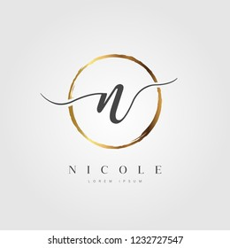 Elegant Initial Letter Type N Logo With Gold Circle Brushed