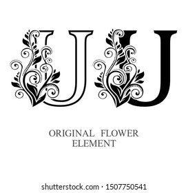 Elegant initial letters U in two color variations with botanical element. Vector letters logo design template set. Alphabet label sign for company branding and identity.Unique concept type as logotype