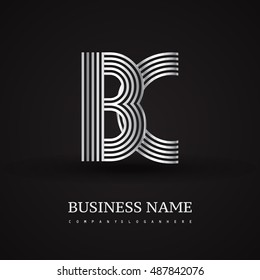 Elegant Initial logo BC letter silver colored. Vector design template elements for company identity.