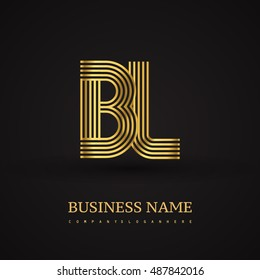Elegant Initial logo BL letter gold colored. Vector design template elements for company identity.