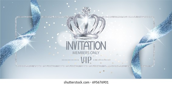 Elegant invitation blue card with sparkling ribbons and crown. Vector illustration