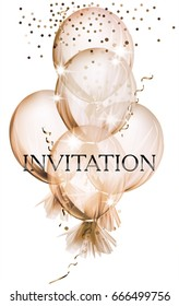 Elegant Invitation card with air balloons covered with transparent cloth. Vector illustration