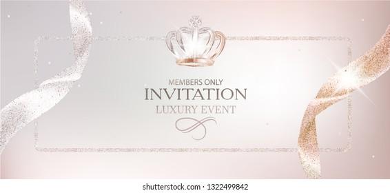 Elegant invitation card with beautiful ribbons. Vector illustration