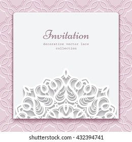Elegant invitation card with cutout paper lace decoration, eps10 vector illustration