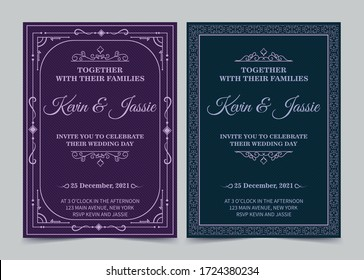 Elegant invitation card vector design vintage style