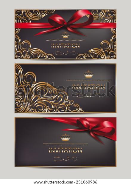Elegant Invitation Cards Floral Design Elements | Backgrounds ...
